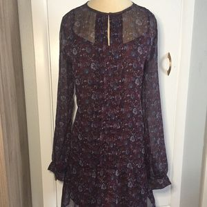 Ruffled Front Floral Purple Blue Long Sleeve Dress